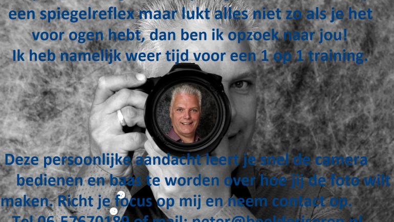 Fotografie training, ben ik op zoek naar jou?